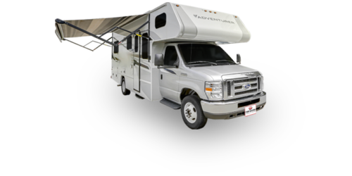 Four Seasons RV Rentals - Class C Large | Passenger's Side Exterior with Awning