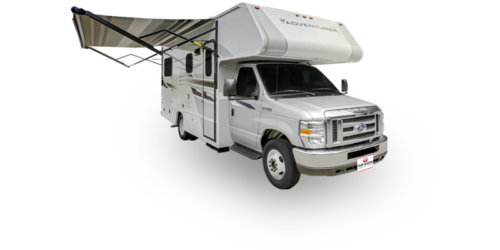 Four Seasons RV Rentals - Class C Medium Motorhome | Passenger's Side Exterior with Awning