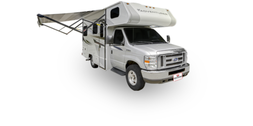 Four Seasons RV Rentals - Class C Small Motorhome | Passenger's Side Exterior with Awning