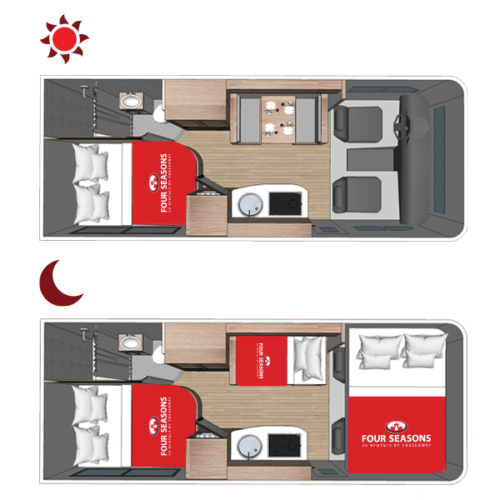 Four Seasons RV Rentals - Class C Medium Motorhome | Floorplan