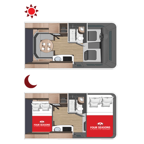 Four Seasons RV Rentals - Class C Small Motorhome | Floorplan