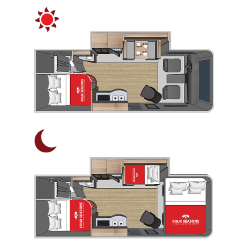 Four Seasons RV Rentals - Class C Large | Floorplan